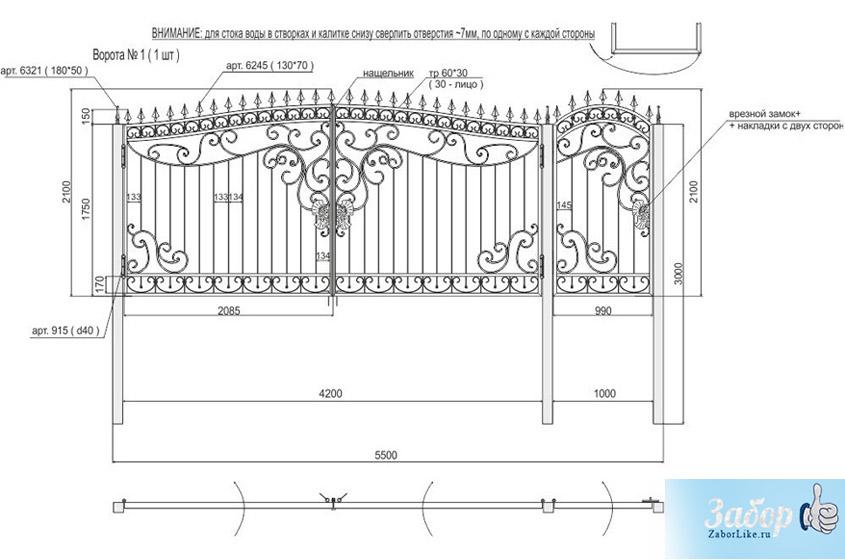 Ворота своими руками чертежи схемы эскизы конструкция