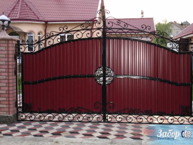 Ворота из профнастила с элементами ковки своими руками фото фото 419