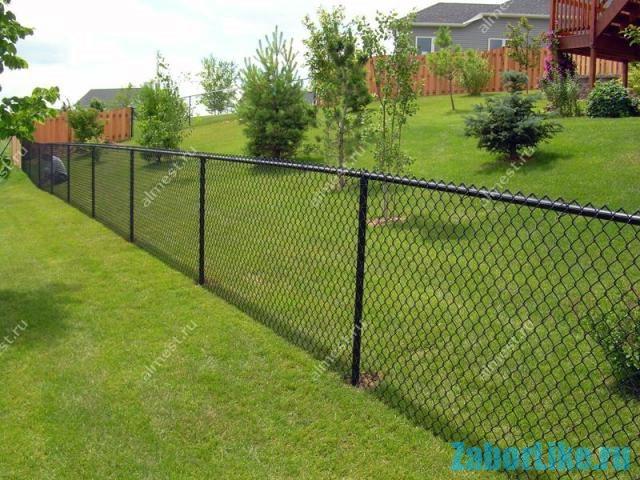 Забор из сетки-рабицы на дачном участке