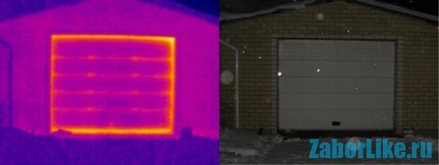 """Как """"убегает"""" тепло из гаражных ворот наглядно видно на термограмме"""